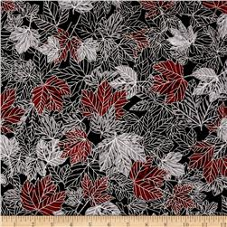 Woodsy Winter Metallic Leaves Charcoal/Silver Fabric