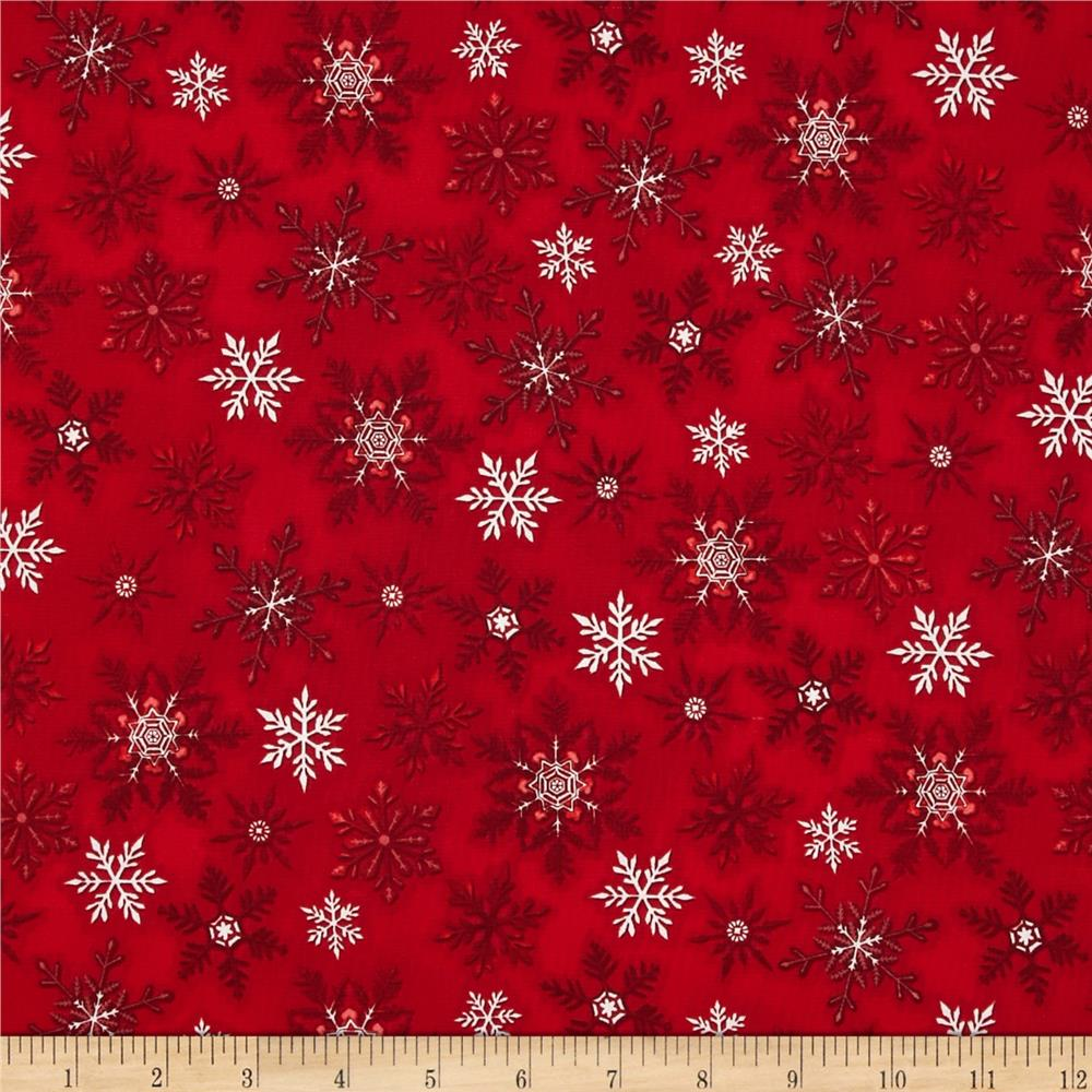 Holly Jolly Christmas Snowflake Red