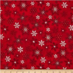 Holly Jolly Christmas Snowflake Red Fabric