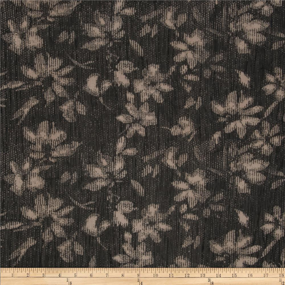 Crinkle Chiffon Digital Flowers Black