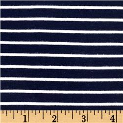 Stretch Rayon Stripe Jersey Knit Navy/Ivory