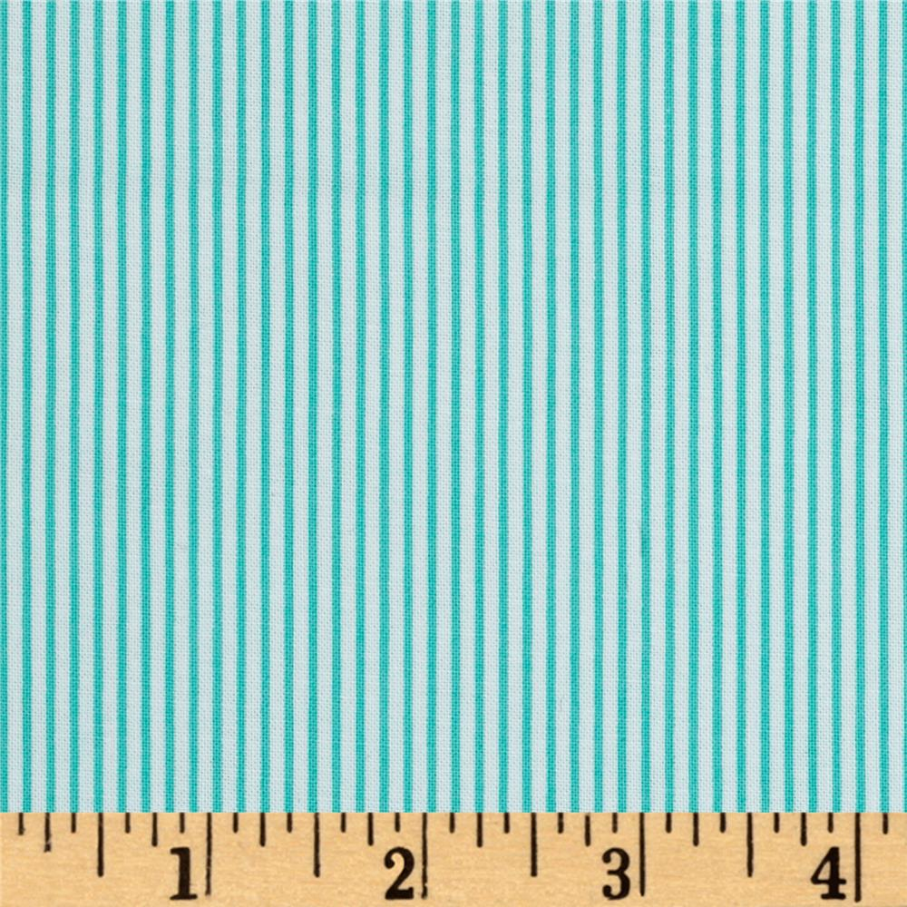 Precious Beginnings Stripes Turquoise/White