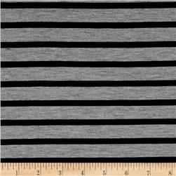 Rayon Spandex Jersey Knit Stripe Heather/Black