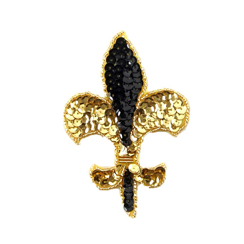 Fleur De Lis Sequin Applique 4-1/4'' x 3'' Black/Gold