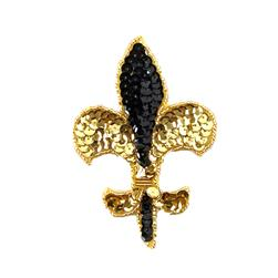 "4-1/4"" X 3"" SEQUIN APPLIQUE FLEUR DE LIS BLACK/GOLD"