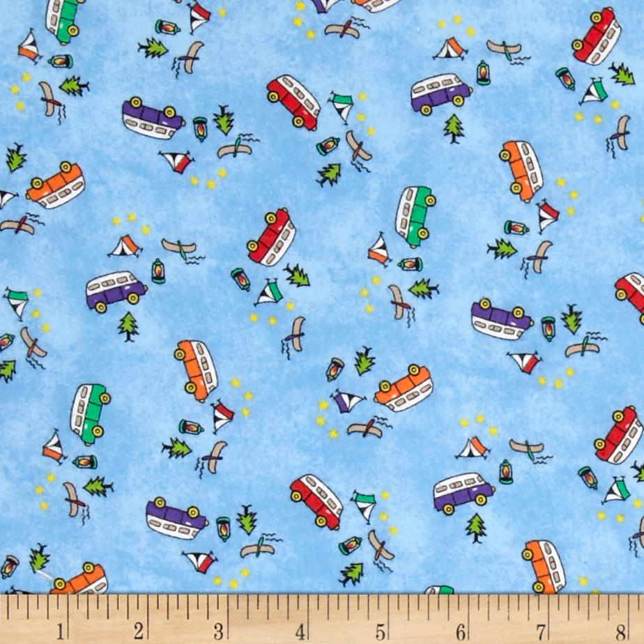 Tossed campers flannel blue discount designer fabric for Flannel fabric