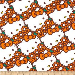 Hello Kitty Packed Flowers Orange Fabric