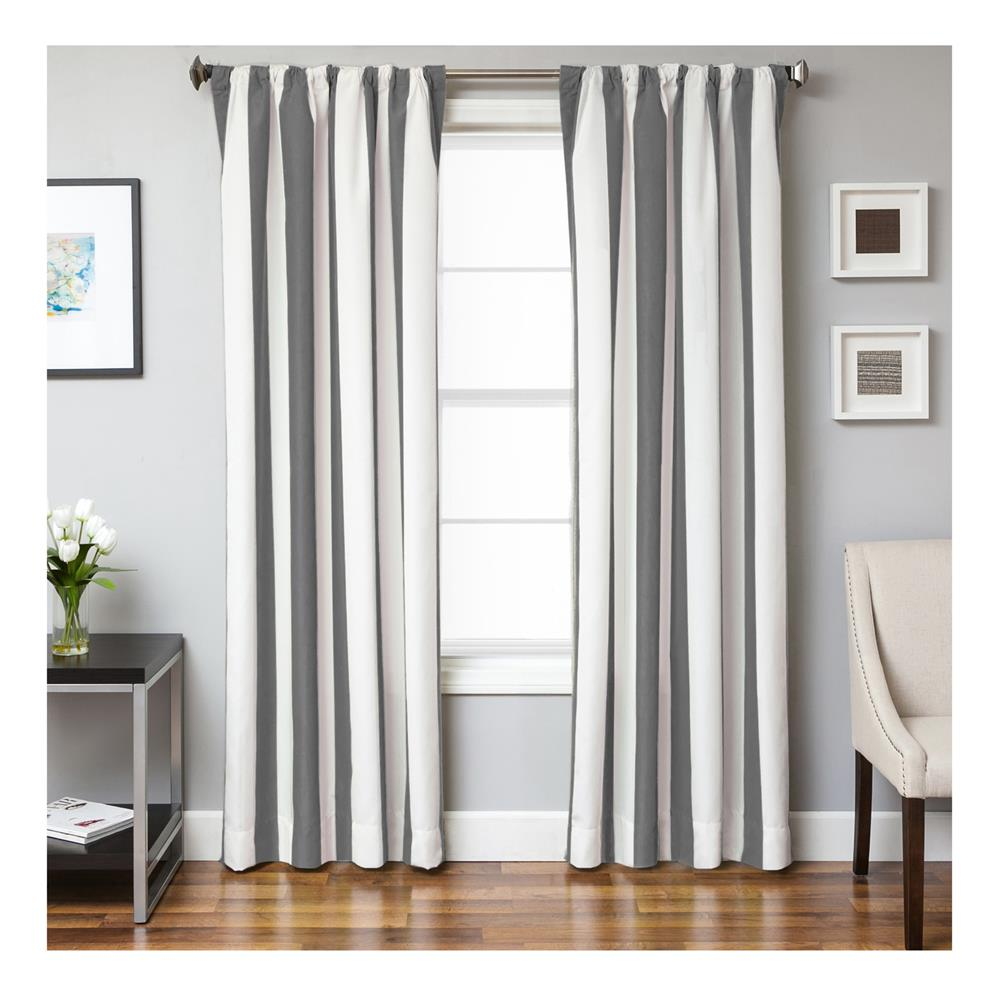 Sunbrella 84'' Stripe Rod Pocket Curtain Panel Natural/Charcoal