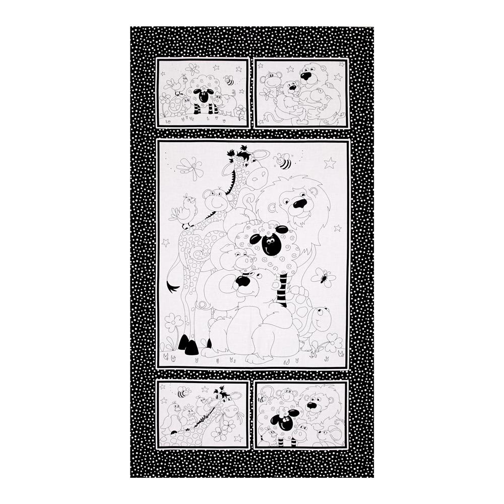 Susybee Color Me 24 In. Panel White/Black Fabric By The Yard
