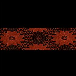 1 1/2'' Floral Lace Ribbon Orange