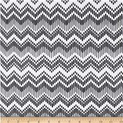 Cotton Lycra Jersey Knit Dash Chevron White/Black