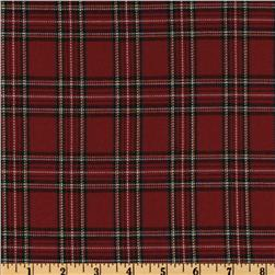 Cotton Blend Yarn Dyed Plaid Flannel Shirting Red