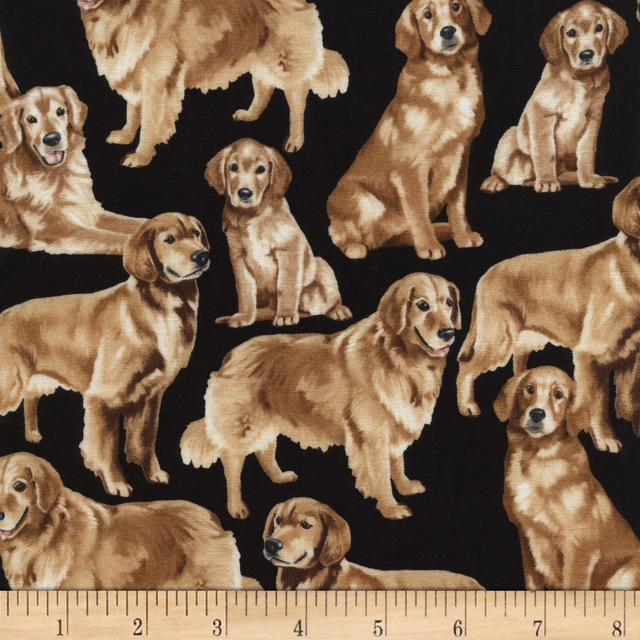 Timeless Treasures Golden Retrievers Golden Fabric