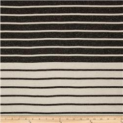 Cotton Blend Jersey Knit Stripes Cream/Charcoal