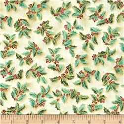Holiday Flourish Metallic Holly Pine Blue Fabric