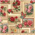 Kaufman Heirloom Diary Flower Blocks Antique
