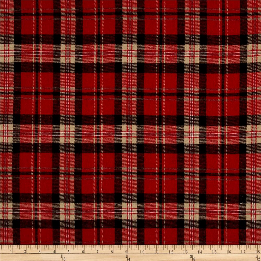 Yarn Dyed Flannel Carloto Red Discount Designer Fabric