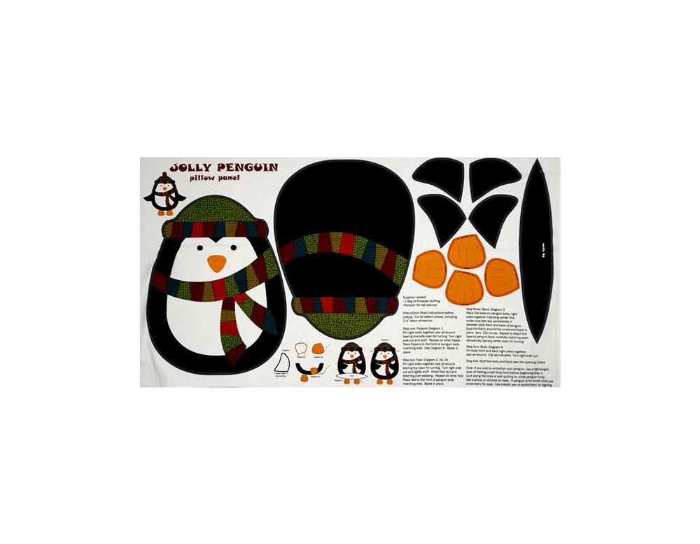 "Jolly Penguin & Friends Jolly Penguin Pillow Panel 24"" Multi"