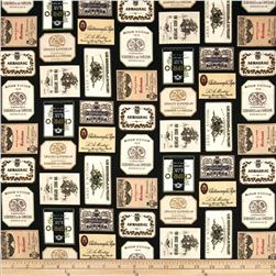 Italian Vineyard Wine Labels Black Fabric