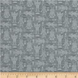 Mr. Roboto Small Tossed Robots Grey