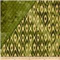 Indian Batik Double Sided Quilted Ikat Green/Cream