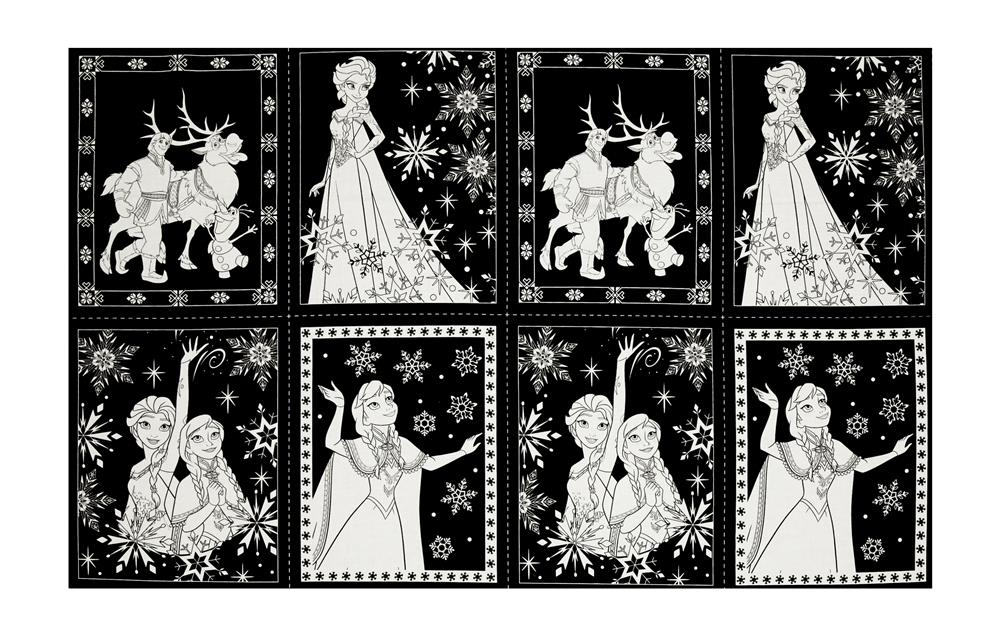 Disney Frozen Book Pages 24'' Panel Black Fabric