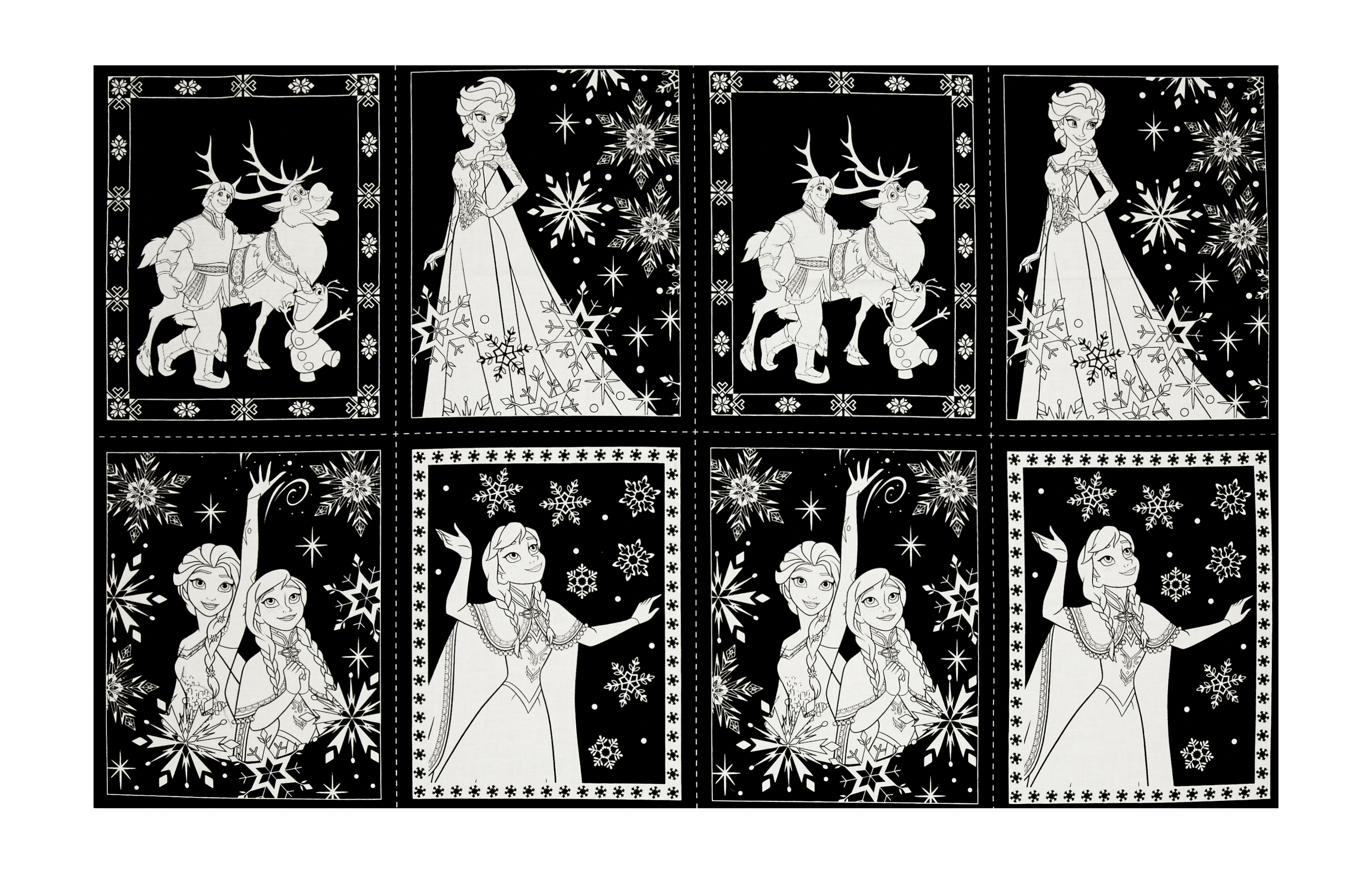 Disney Frozen Book Pages 24'' Panel Black Fabric by Eugene in USA