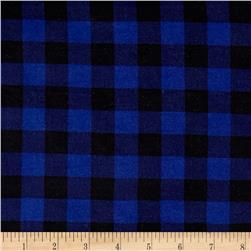 Vendor Issue Misprint Brushed Jersey Knit Plaid Blue/Black