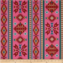 Tucson Beaded Stripe Pink Fabric
