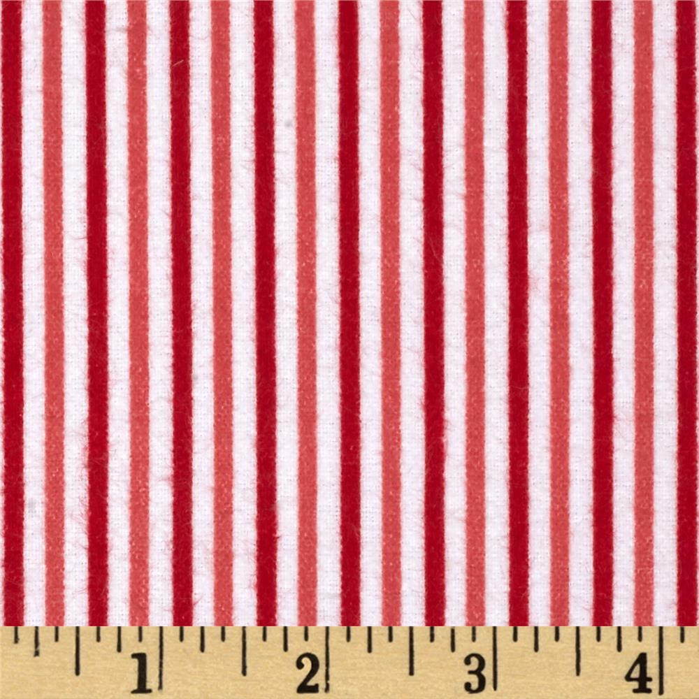 Riley Blake Merry Matryoska Flannel Stripe Red Fabric By The Yard
