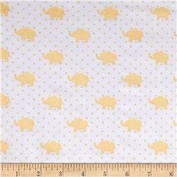 Kaufman Little Prints Double Gauze Elephant Yellow