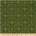 Golden Holiday Metallic Ornamental Medallion Green