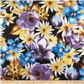Shimmer Rayon Blend Shirting Flowers Yellow/Purple