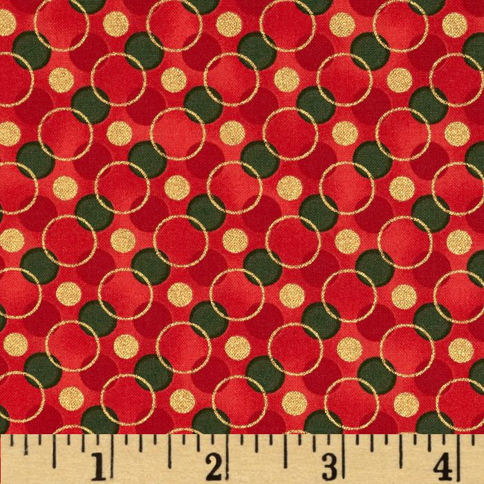 All Wrapped Up Metallic Geo Circles Red