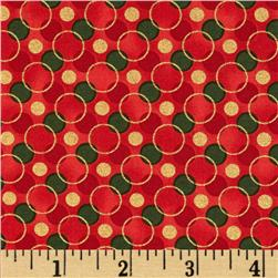 All Wrapped Up Metallic Geo Circles Red Fabric