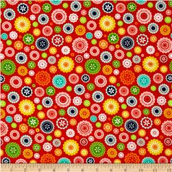 Riley Blake Lazy Day Flannel Floral Red Fabric