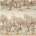 Kaufman Sounds of the Woods Metallic Tree Stripe Frost