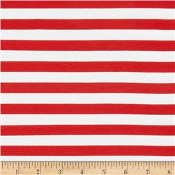 "Riley Blake Jersey Knit 1/2"" Stripes Red"