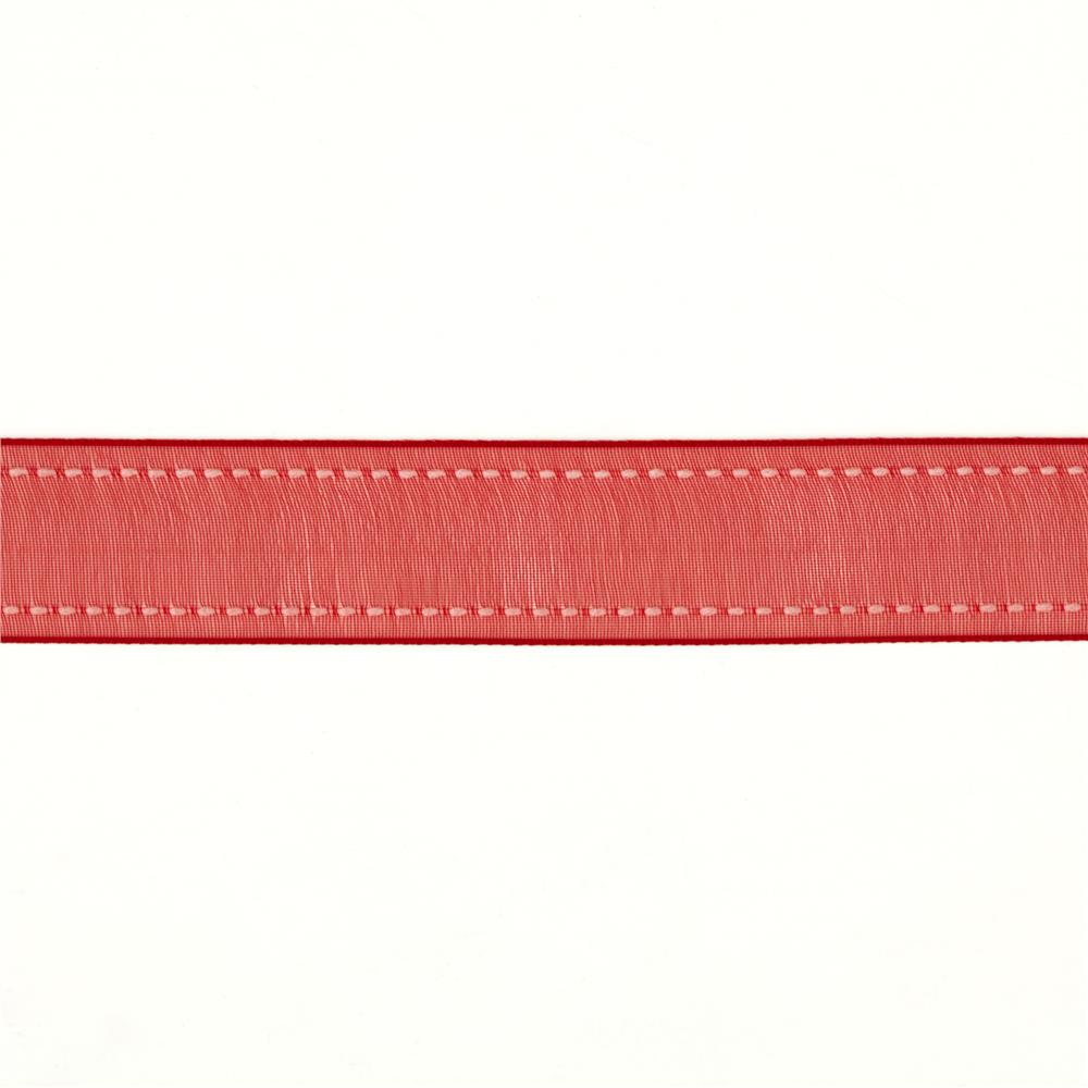 "7/8""  Sheer Stitched Edge Ribbon Red"
