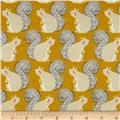 Cotton + Steel Magic Forest Squirrels Neon Yellow