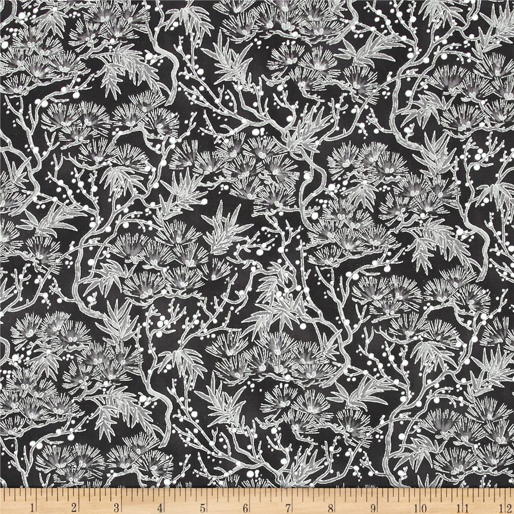 Snow Festival Metallic Pine Boughs Black