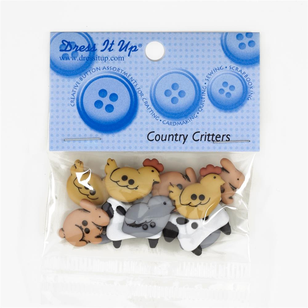 Dress It Up Embellishment Buttons Country Critters