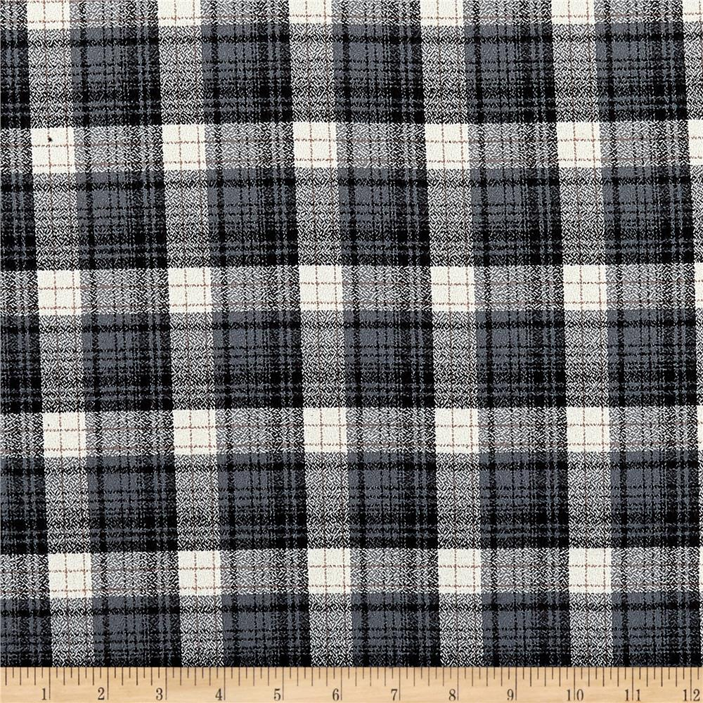 Kaufman Mammoth Flannel Plaid Smoke Fabric By The Yard