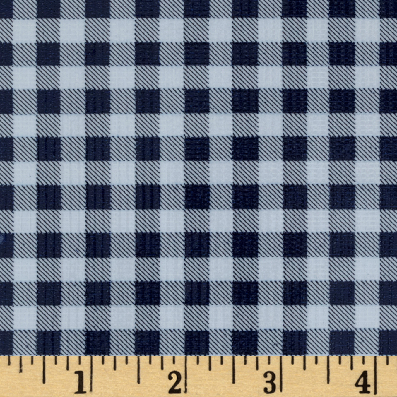 Oilcloth Gingham Navy Fabric by Oilcloth International in USA