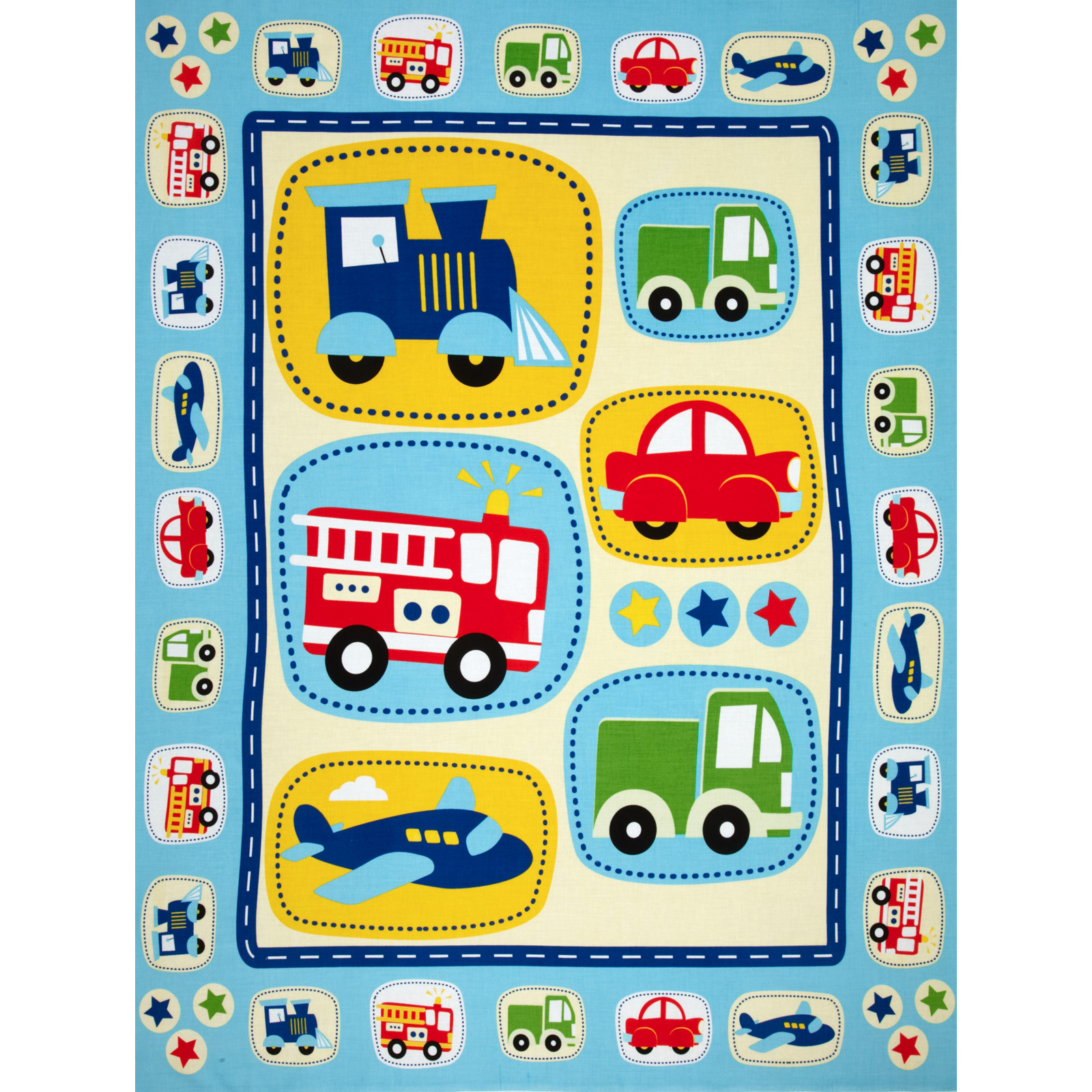 Planes Trains and Autos Panel Blue Fabric