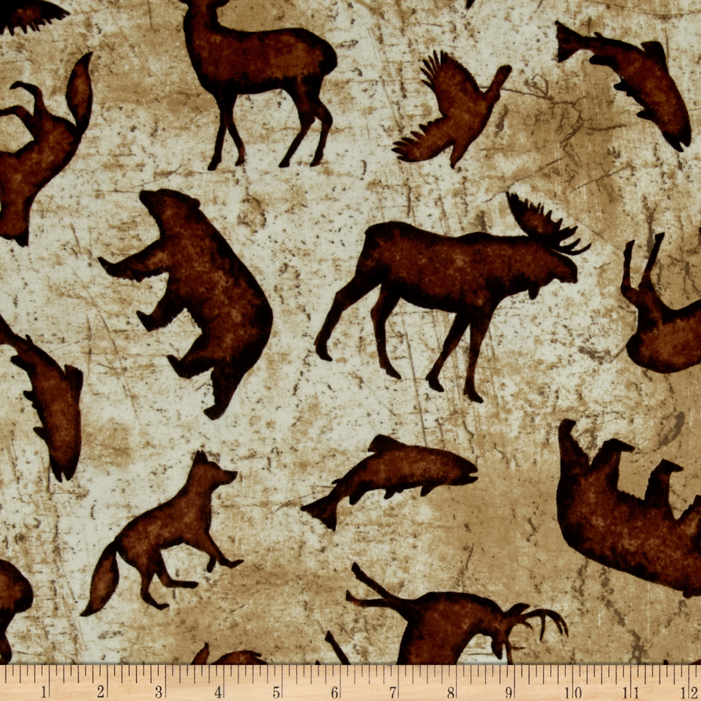 Wilderness Flannel Toss Animals Butter Fabric by Clothworks in USA