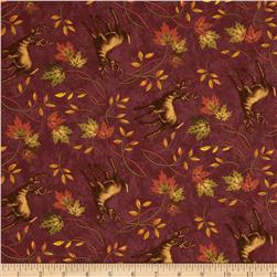 Moda Turning Leaves Deer Print Cranberry
