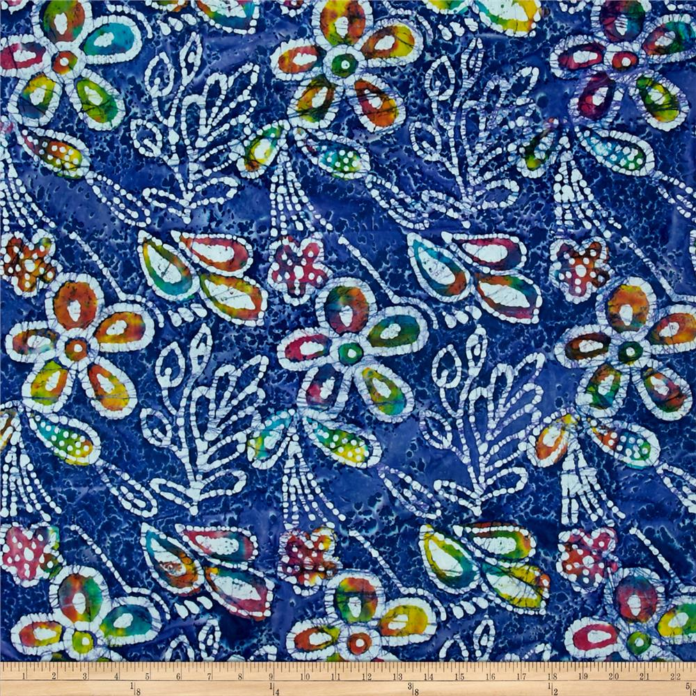 Indian Batik Caledonia Garden Large Floral Blue