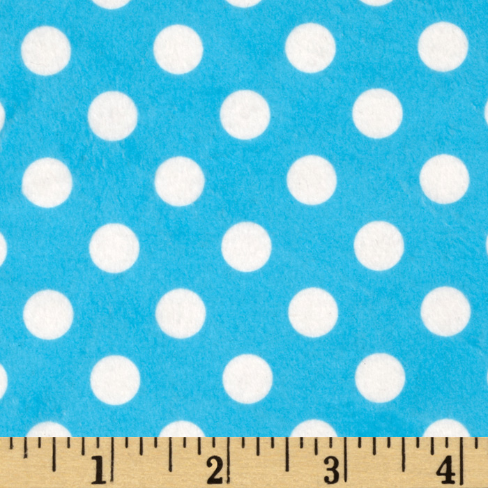 Minky Minnie Dots Turquoise/White