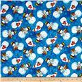 Snowy Friends Tossed Snowmen Dark Blue
